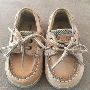 Infants Sperry Top Sider Beige Tie Shoes